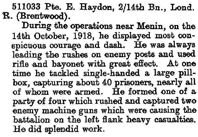 Eric Haydon DCM Citation London Gazette 2Dec1919