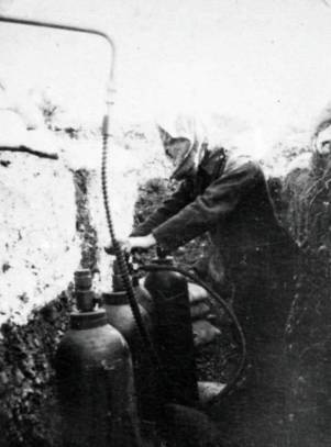 Personnel practicing for the first British gas attack.