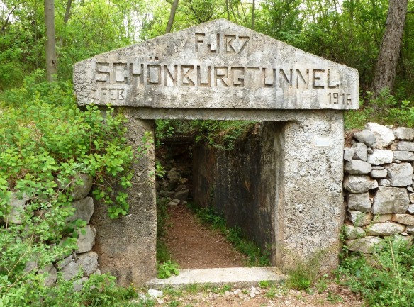 Entrance to the Austro-Hungarian Schönberg Tunnel, named after Gen. Alois von Schönburg-Hartenstein, Commander of the 6th Infantry Division which held Monte San Michele during the 4th Battle of the Isonzo.