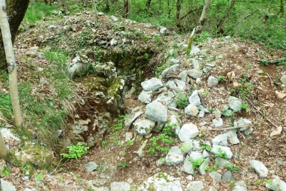 Recently excavated trenches.