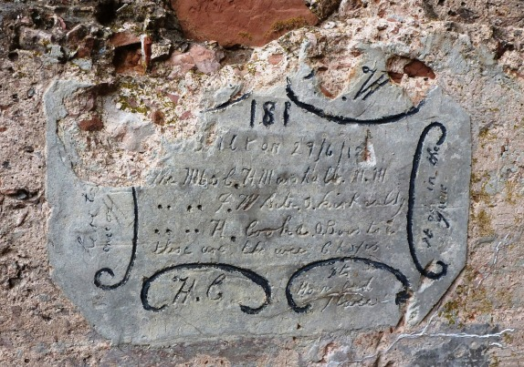 Monte Zovetto  inscription left by British artillerymen in June 1918.