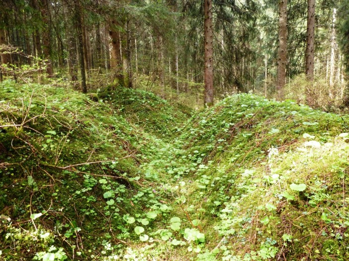 The area  of Alhambra Trench retaken by Brittain's counterattack and where he was killed shortly afterwards.