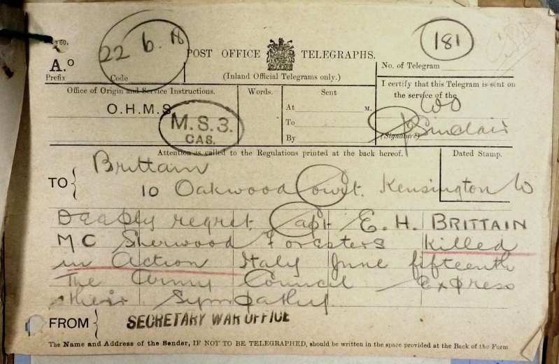 The War Office telegram sent to Edward's father on 22nd June 1918. (National Archives WO339/27827)