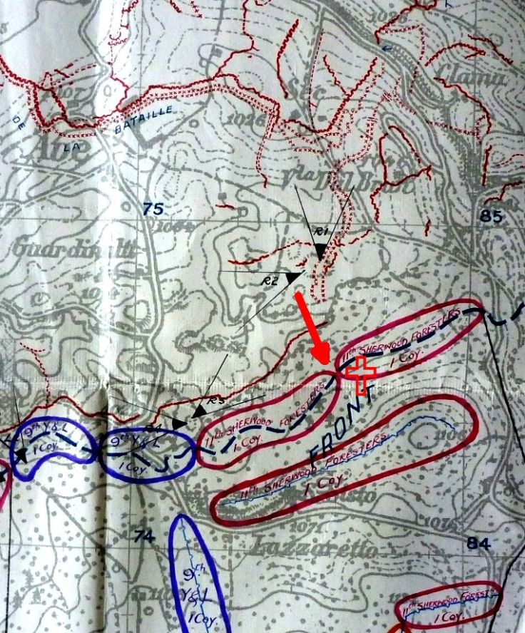 The deployment of British at the start of the battle. The 11th Sherwoods were holding the front line with D Company on the left and Brittain's A Company on the right; C Company was on the ridge summit behind. Machine guns R1 and R2 were deployed in front of the British wire, as was a picquet of ten men.  The Austrian break-in is shown by the red arrow and the area in which Edward Brittain lost his life is shown by the cross. (23rd Division GS War Diary National Archives WO95/4229)