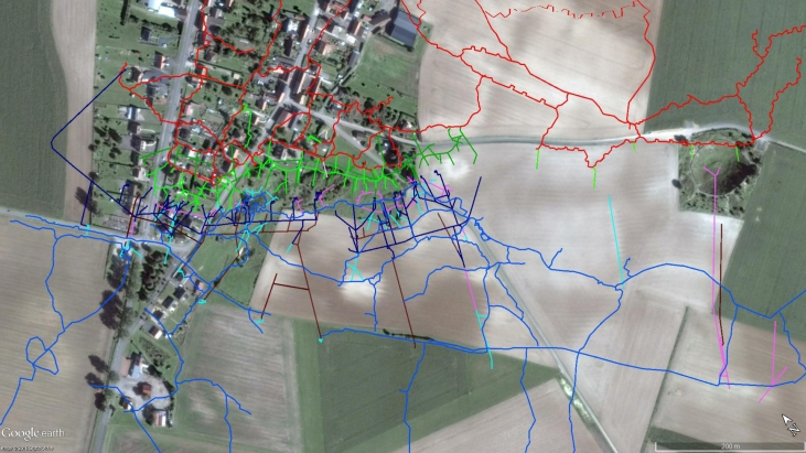 British and German mine systems at La Boisselle. (c) GoogleEarth and Simon Jones