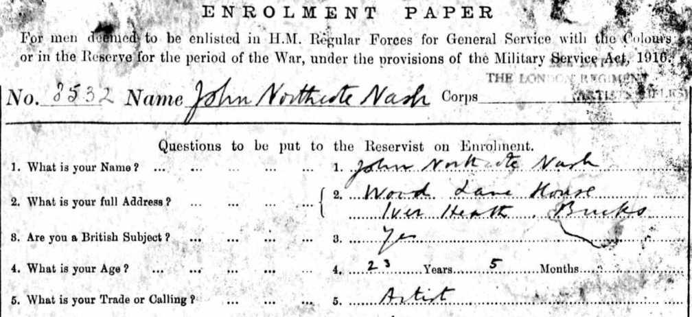 John Nash service record SimonJonesHistorian