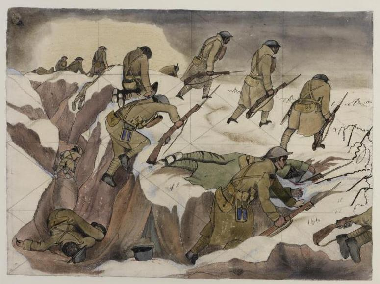 Study for 'Over The Top' Art.IWM ART 3907-SimonJonesHistorian