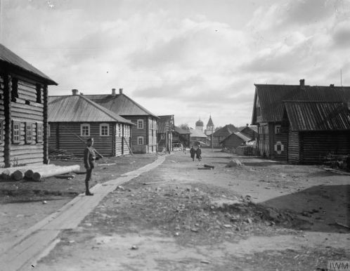 Q 16821-A British sentry on the main street of Lijma, 16th September 1919
